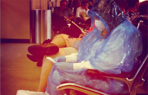 Some Washington Dulles passengers took preventative measures into their own hands.